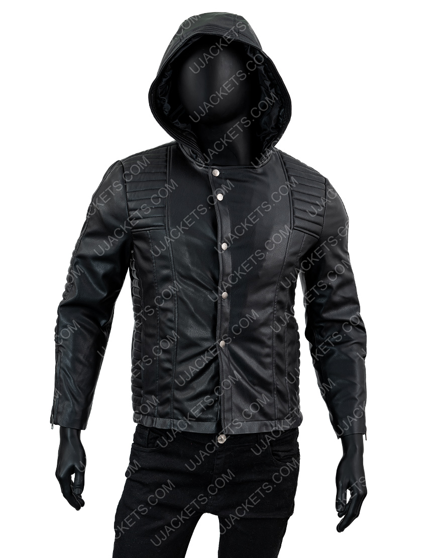 Jamie Campbell Bower The Mortal Instruments Black Leather Hooded Jacket