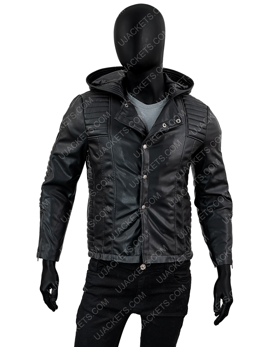 Jamie Campbell Bower The Mortal Instruments Leather Hooded Jacket
