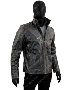 Men's Black Rivet Genuine Cow Hide Distressed Jacket