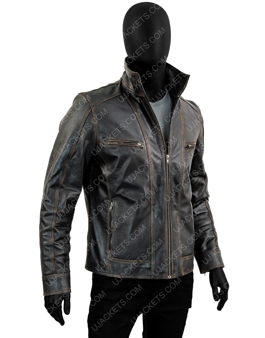 Men's Black Rivet Genuine Cow Hide Distressed Jacket