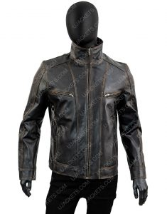 Men's Black Rivet Genuine Cow Hide Distressed Leather Jacket