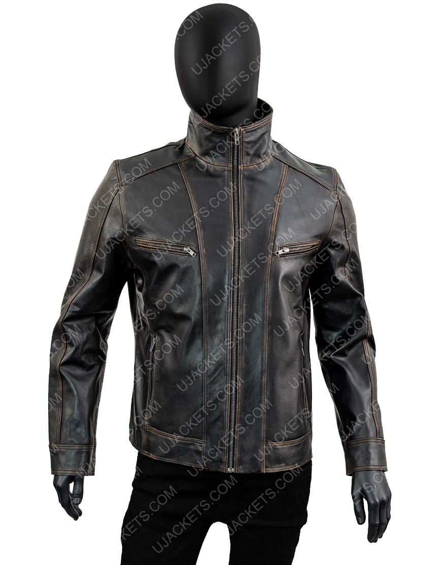 Men's Black Rivet Genuine Cow Hide Distressed Leather Jacket