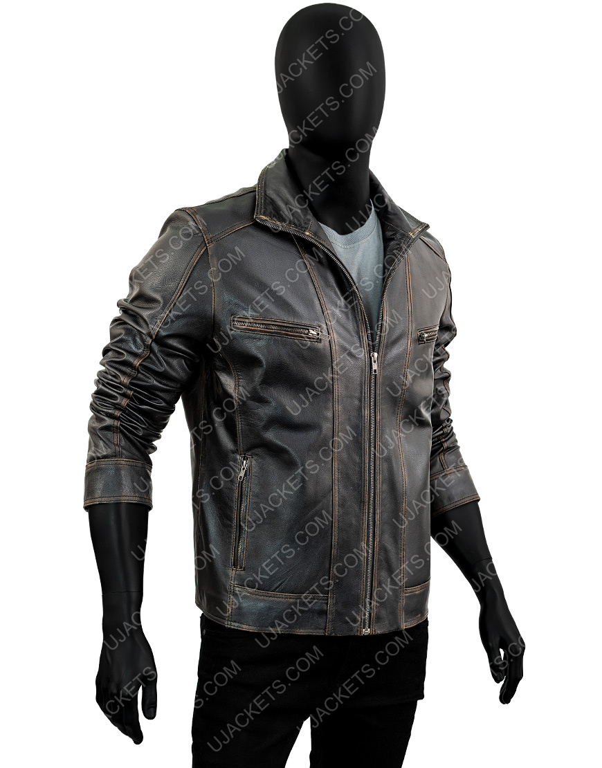 Men's Black Rivet Genuine Cow Hide Leather Jacket
