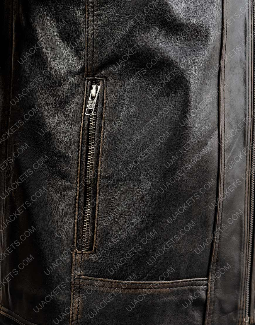 Men's R Distressed Leather Jacket