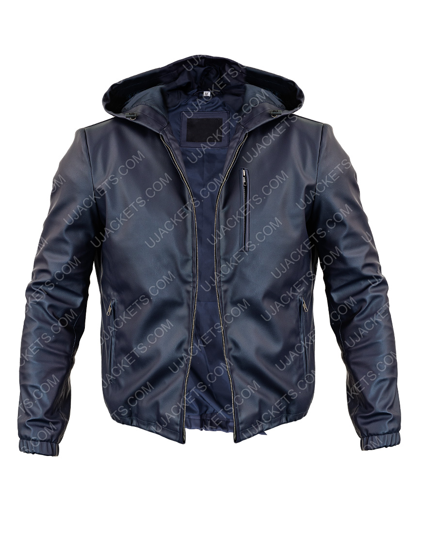 Mens Reversible Hooded Blue Leather Jacket