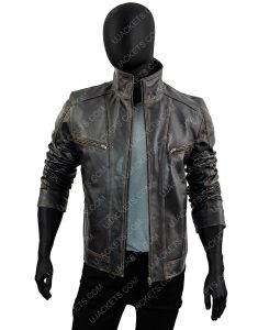 Men's Rivet Genuine Cow Hide Distressed Leather Jacket