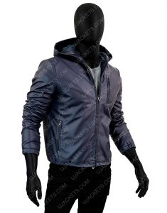 Mens Slimfit Hooded Blue Leather Jacket