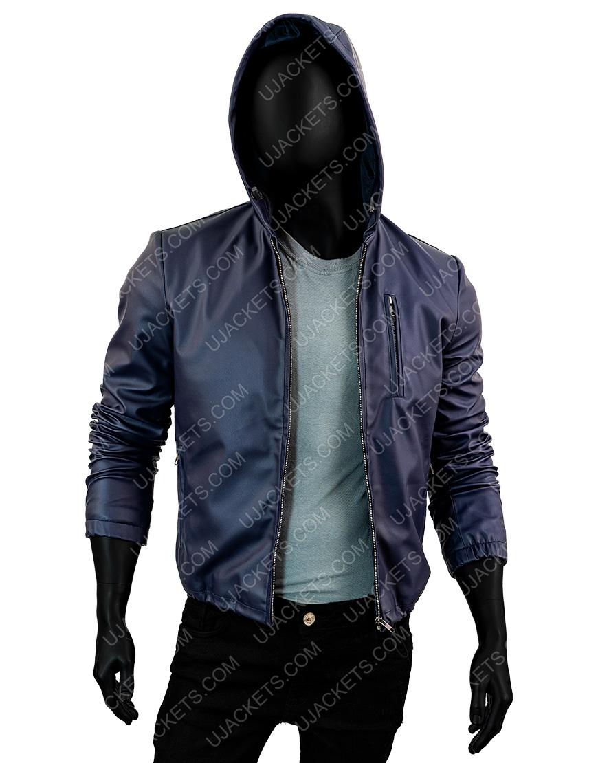 Mens Slimfit Reversible Hooded Blue Jacket