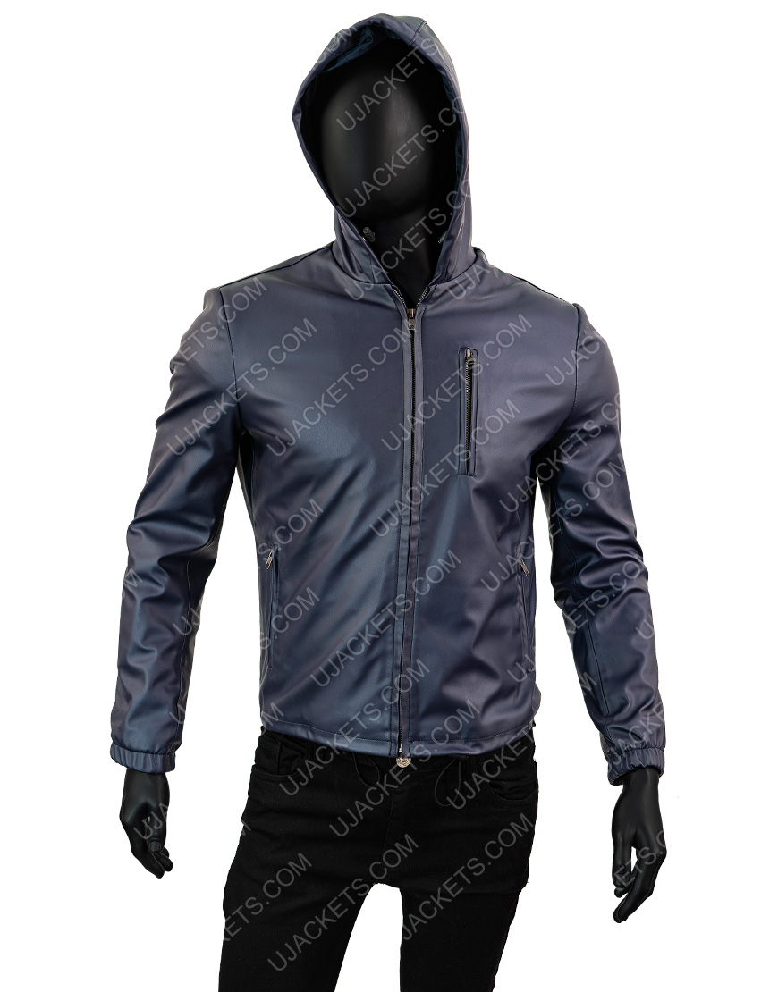 Mens Slimfit Reversible Hooded Blue Leather Jacket