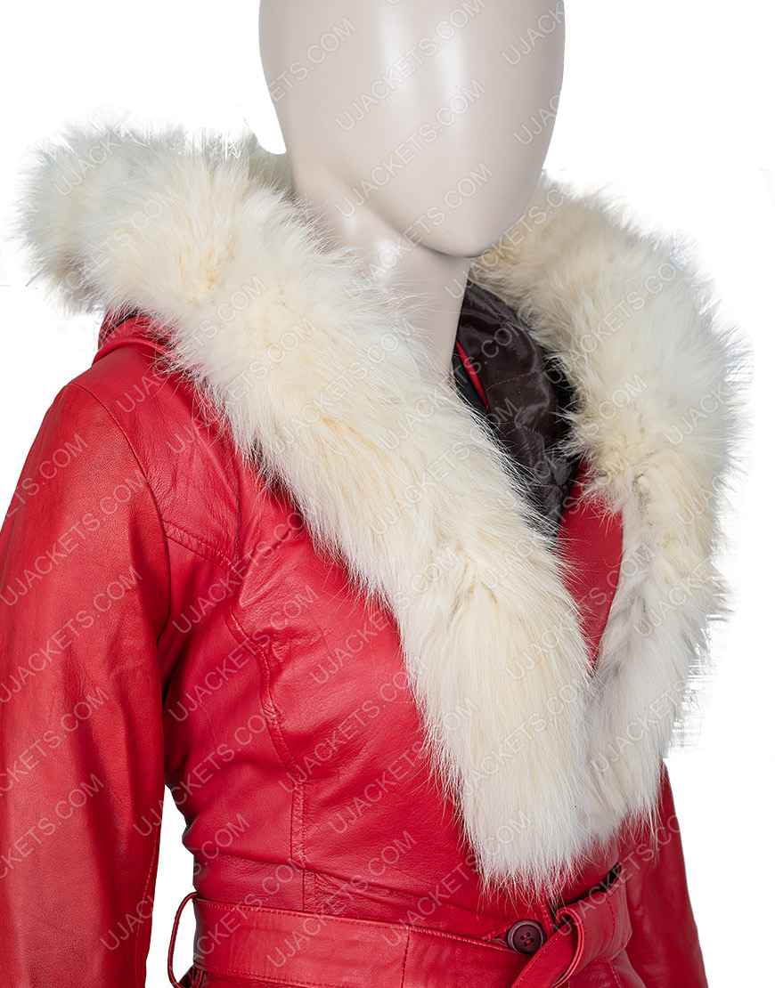 Mrs. Claus The Christmas Chronicles Goldie Hawn Hooded Leather Parka Jacket