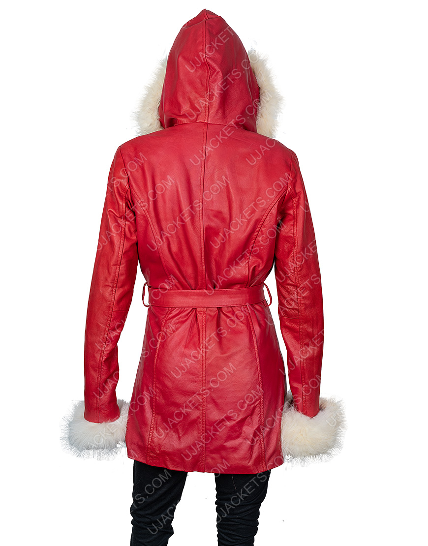 Mrs. Claus The Christmas Chronicles Hooded Leather Parka Jacket