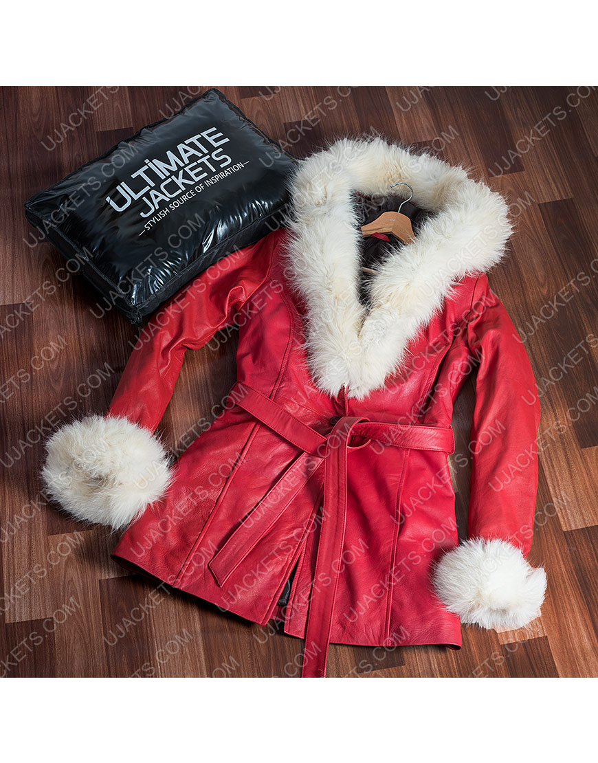 Mrs. Claus The Christmas Chronicles Leather Parka Jacket