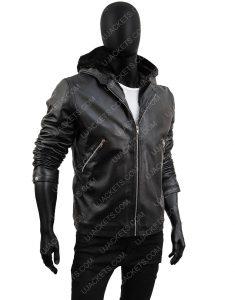 Power Tommy Egan Black Sheepskin Leather Hooded Jacket