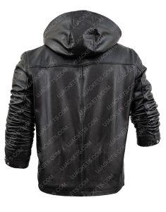 Power Tommy Egan Sheepskin Leather Hooded Jacket