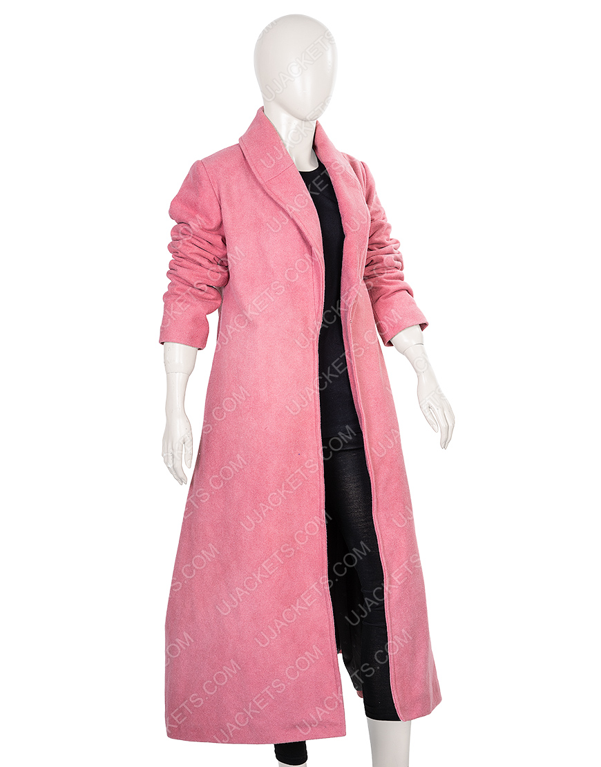 Rachel Brosnahan Pink Woolen Coat From The Marvelous Mrs.Maisel