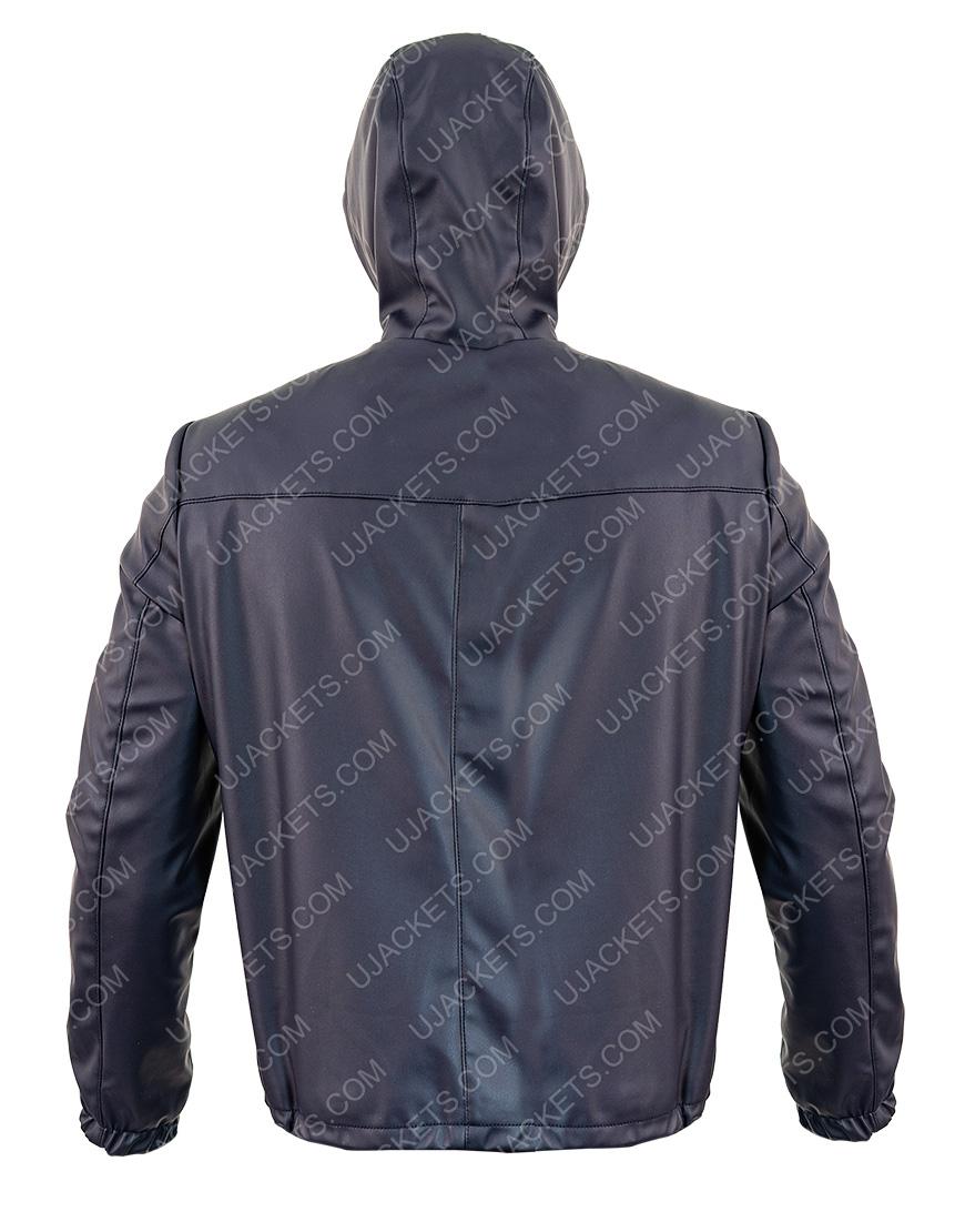 Slimfit Reversible Hooded Blue Leather Jacket