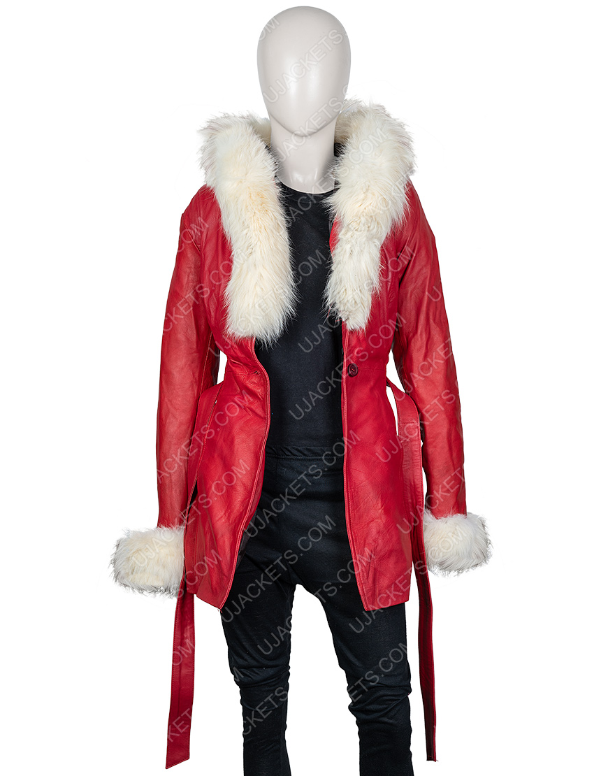 The Christmas Chronicles Goldie Hawn Red Shearling Coat
