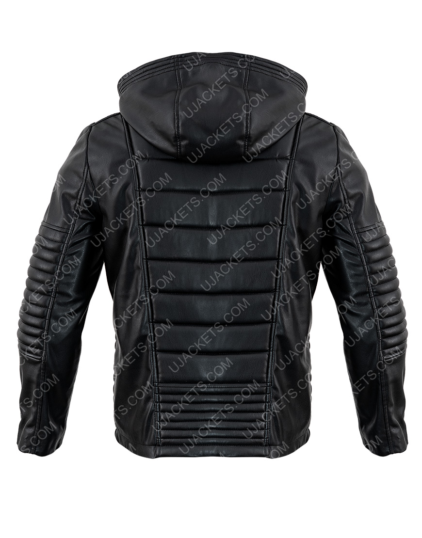 The Mortal Instruments Black Leather Hooded Jacket
