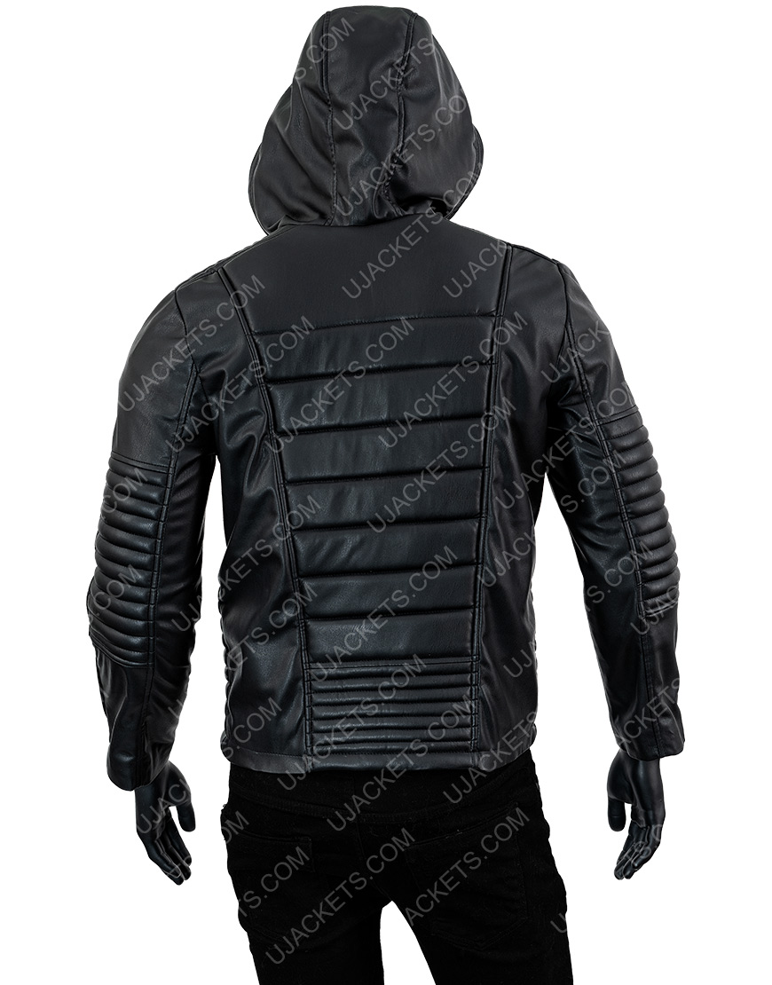 The Mortal Instruments Jamie Campbell Bower Black Leather Hooded Jacket
