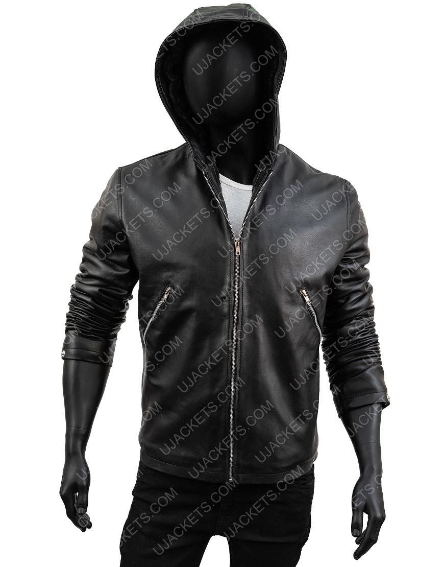 Tommy Egan Black Sheepskin Leather Hooded Jacket