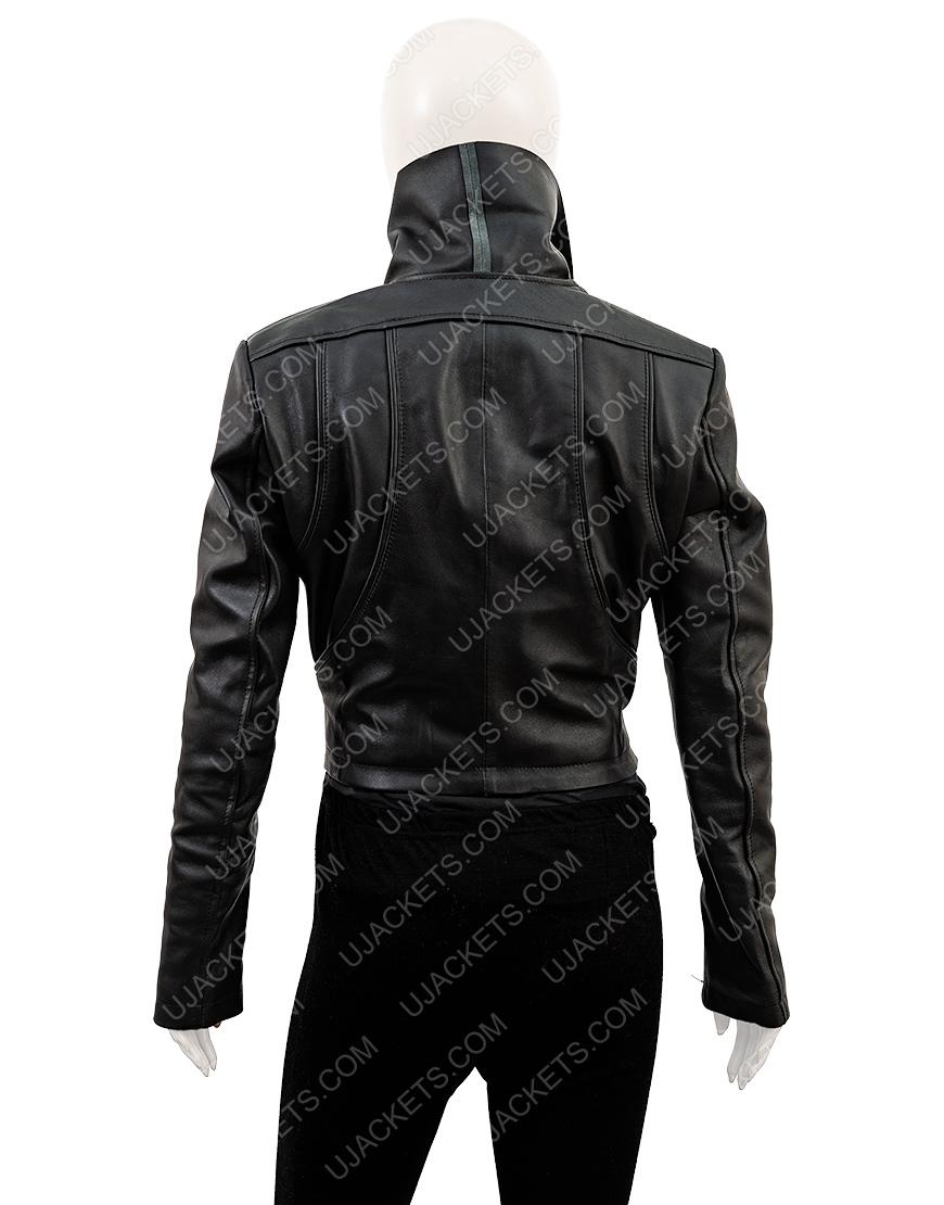 Breakfast Radio Show Kym Marsh Black Leather Waterfall Jacket