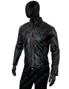 Cafe Racer Biker Vintage Motorcycle Black Leather Jacket Men