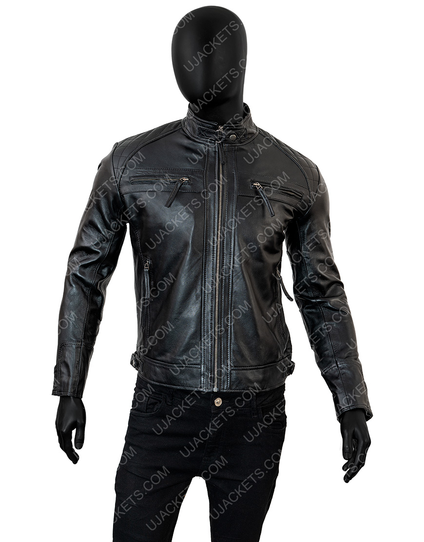 Cafe Racer Biker Vintage Motorcycle Real Black Leather Jacket Men