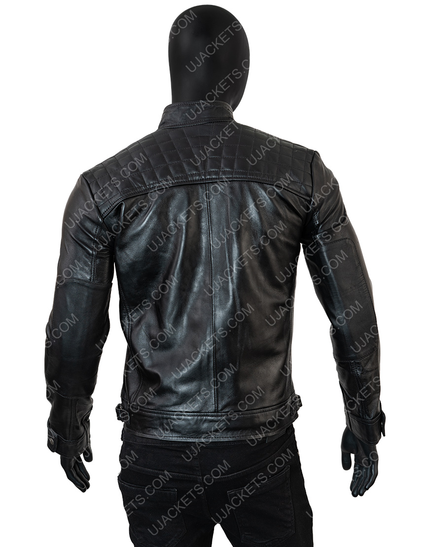 Cafe Racer Vintage Motorcycle Real Black Leather Jacket Men