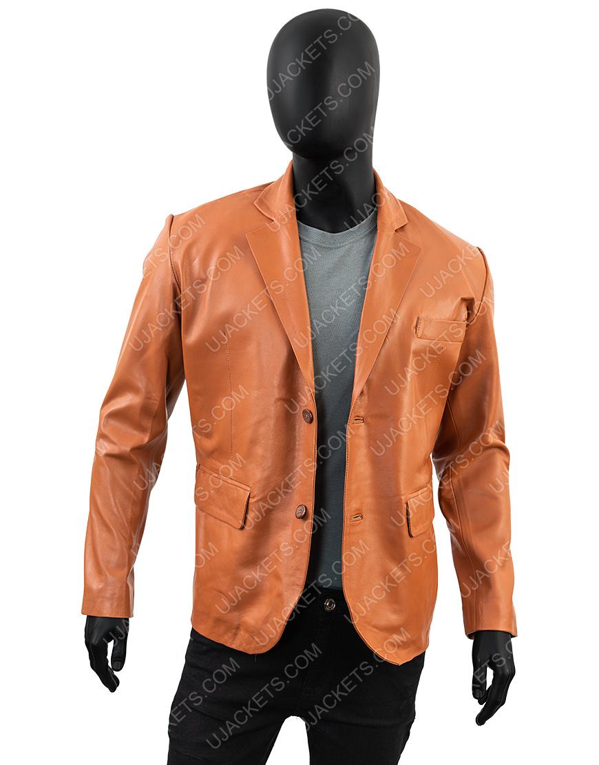 Genuine Leather Blazer Overcoat Jacket for Men