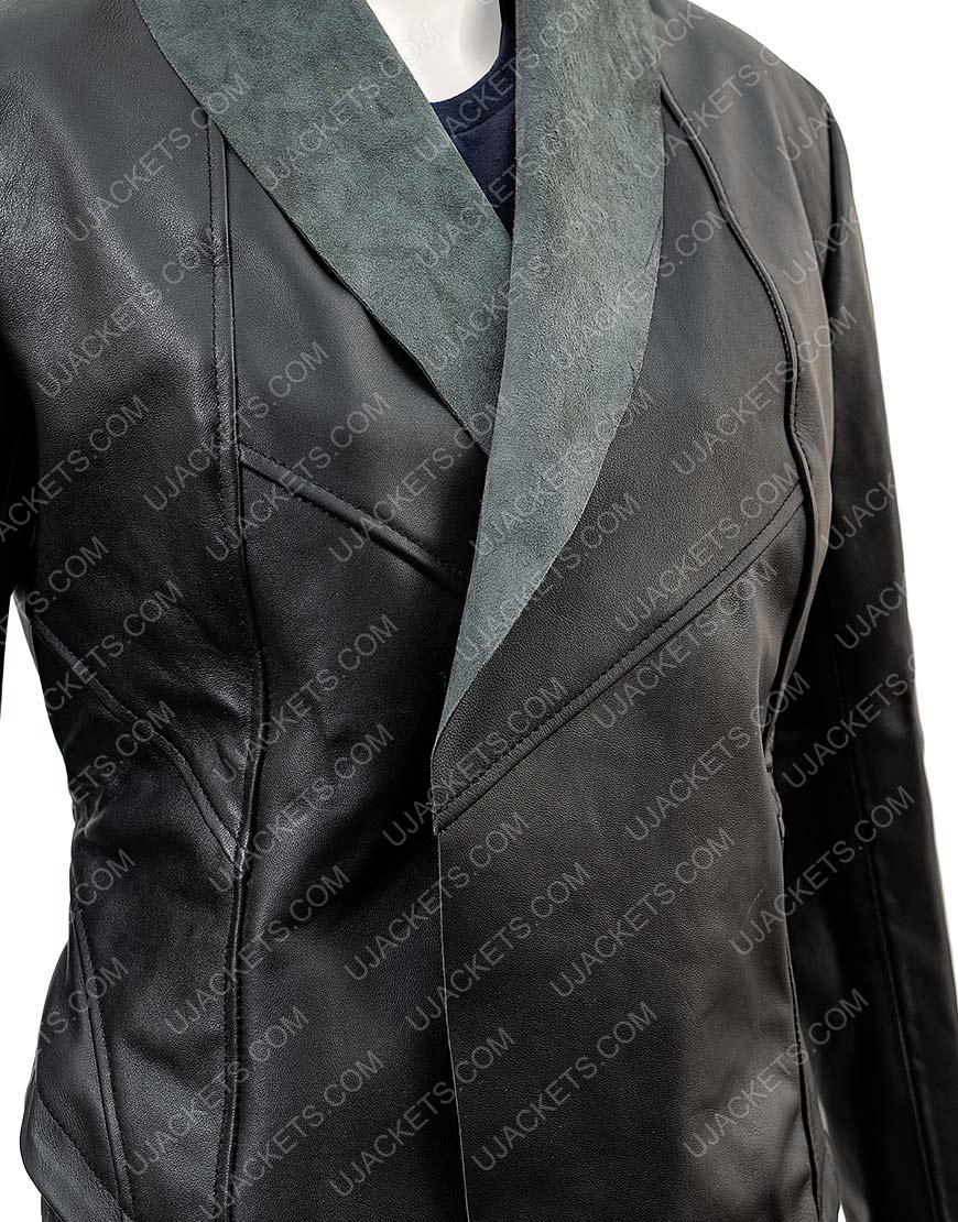 Kym Marsh Black Leather Waterfall Jacket