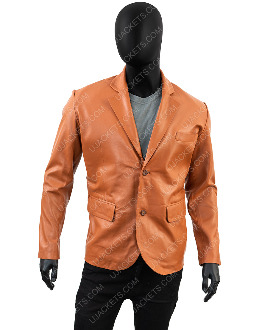 Men Genuine Leather Blazer Overcoat Jacket for Men