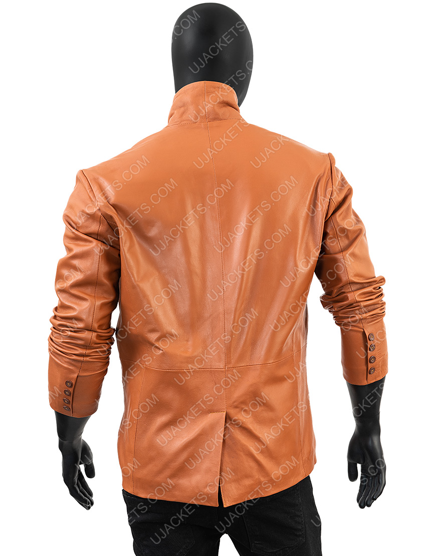 Men Genuine Leather Blazer Overcoat Jacket