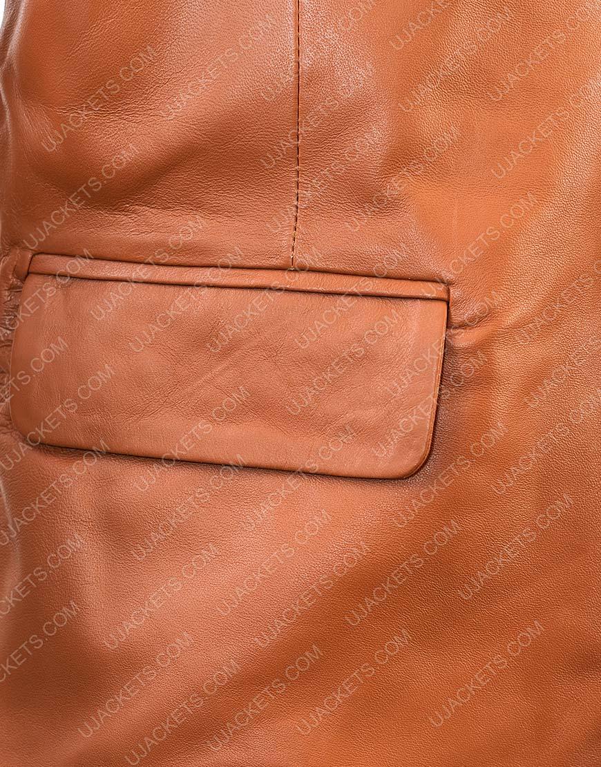 Men Leather Blazer Overcoat Jacket