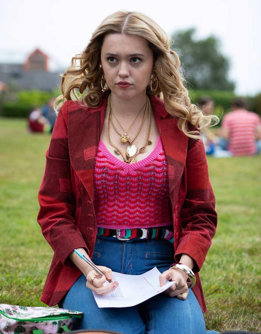 Sex-education-season-2-Aimee-Lou-Wood-Red--jacket