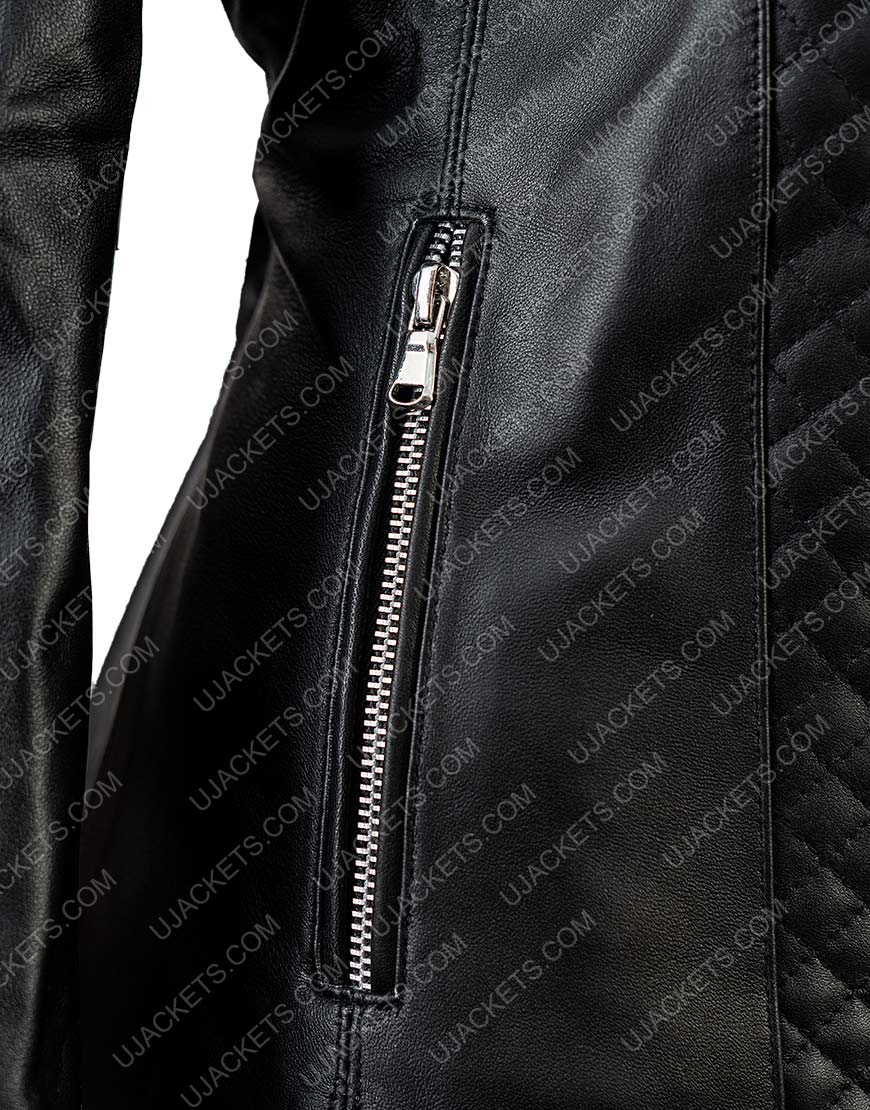 Black Women's Black Quilted Motorcycle Jacket