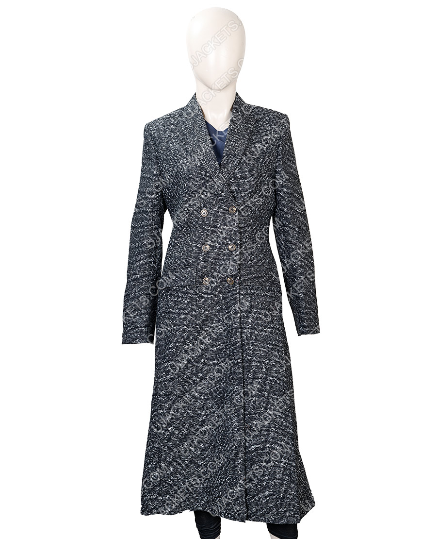 Elizabeth Lail You Season 2 Guinevere Beck Grey Wool Coat