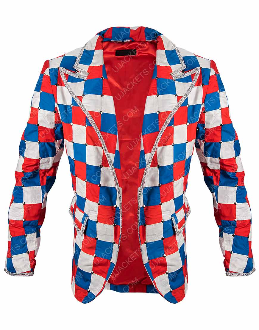 Elton John Rocketman Taron Egerton Checked Colorful Blazer