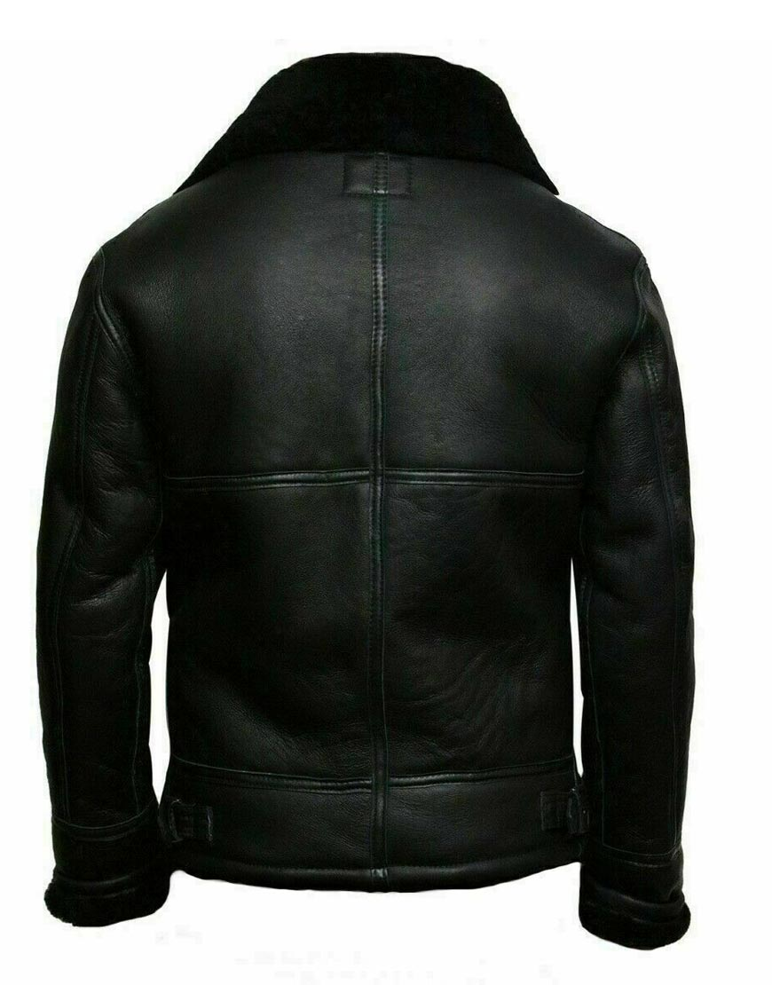 Men's-Black-Aviator-Shearling-Real-Sheepskin-RAF-B3-Ginger-Bomber-Flying-Jacket