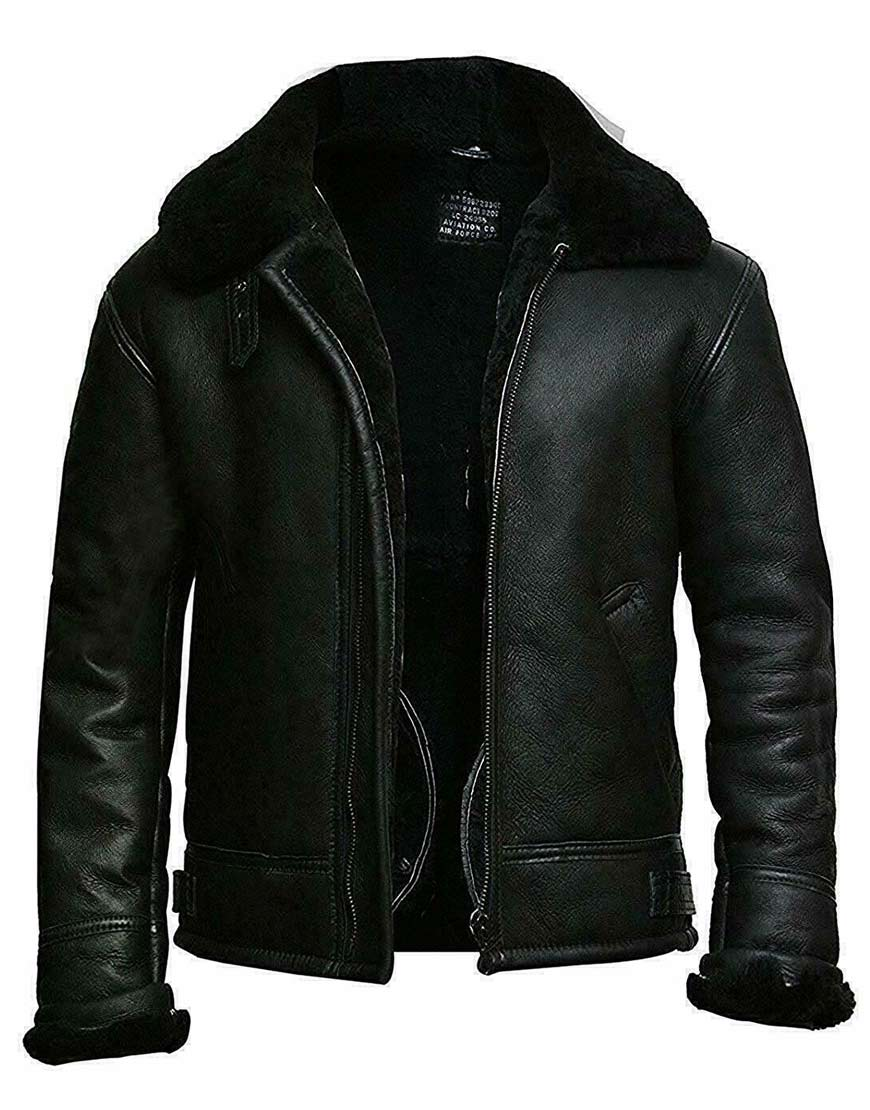 Men's-Black-Aviator-Shearling-Real-Sheepskin-RAF-B3-Ginger-Bomber-Flying-Leather-Jacket
