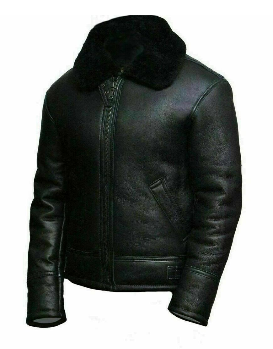 Men's-Black-Aviator-Shearling-Real-Sheepskin-RAF-B3-Ginger-Flying-Leather-Jacket