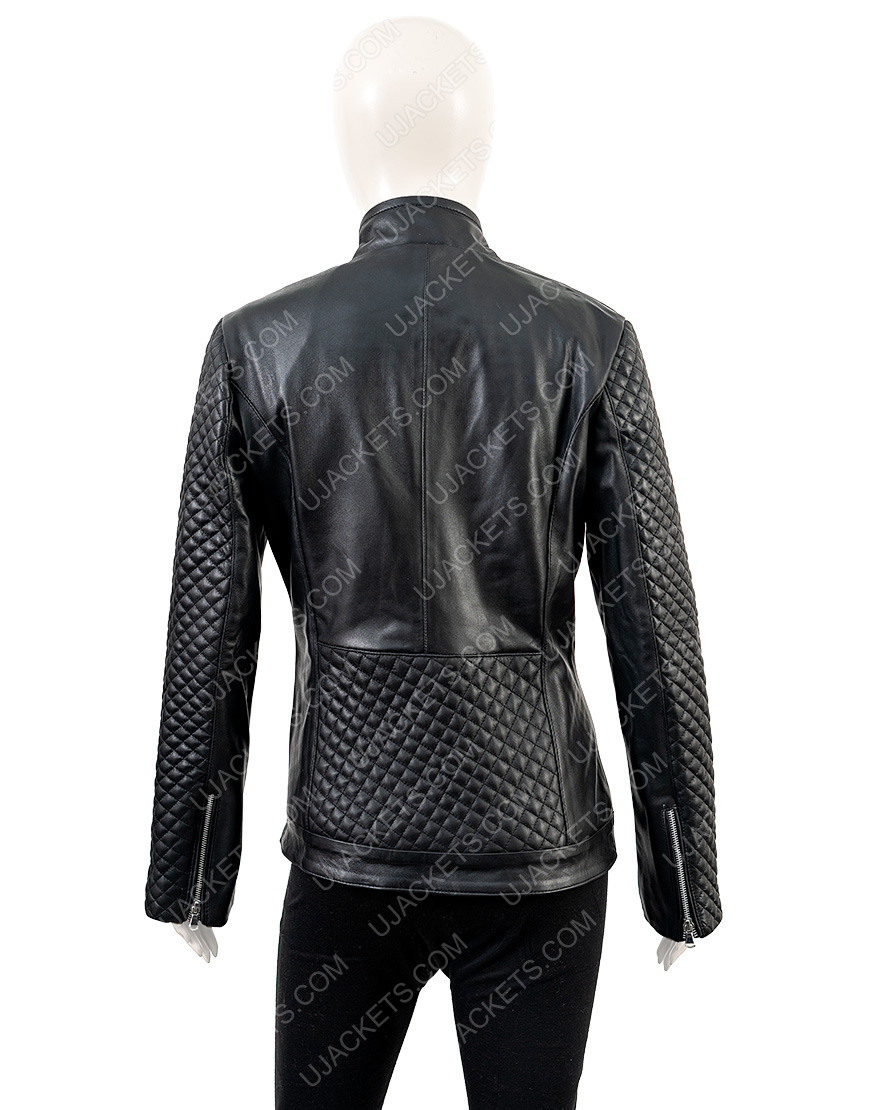 Motorcycle Women's Black Quilted Jacket