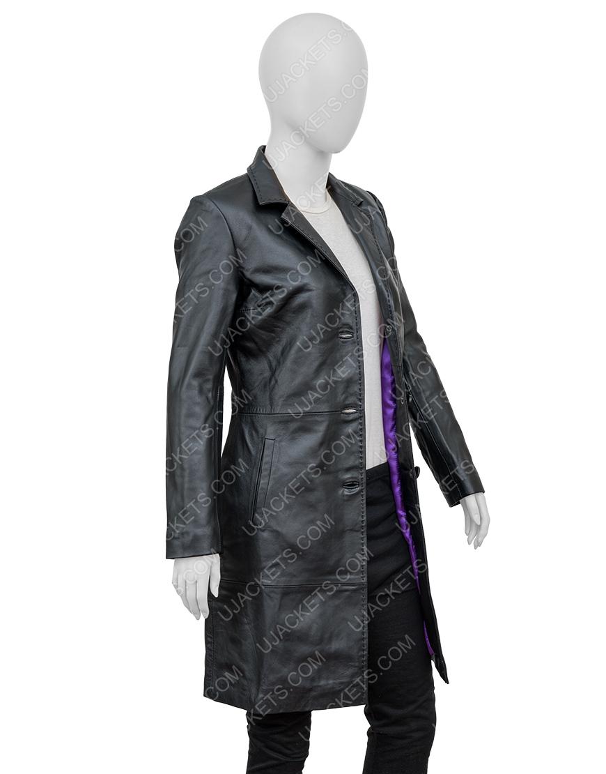 Robyn 'Rob' Brooks High Fidelity Zoe Kravitz Black Leather Coat