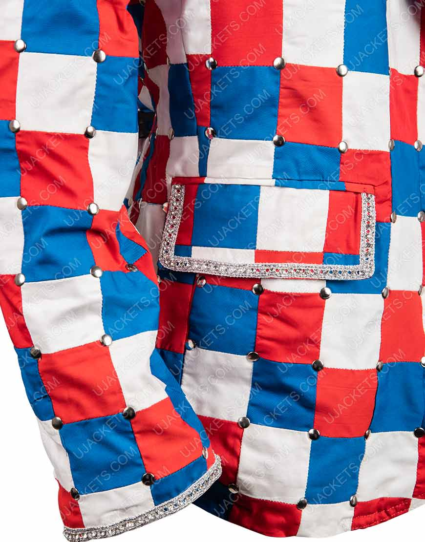 Rocketman Elton John Taron Egerton Checked Colorful Blazer