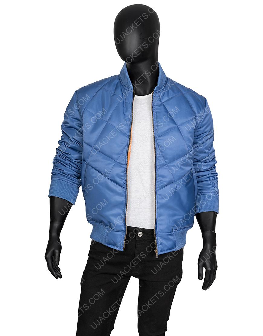 Super Bowl Blue Quilted Chris Evans Bomber Jacket