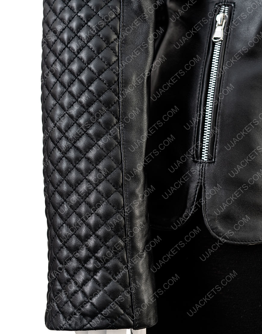 Women's Black Quilted Motorcycle Jacket