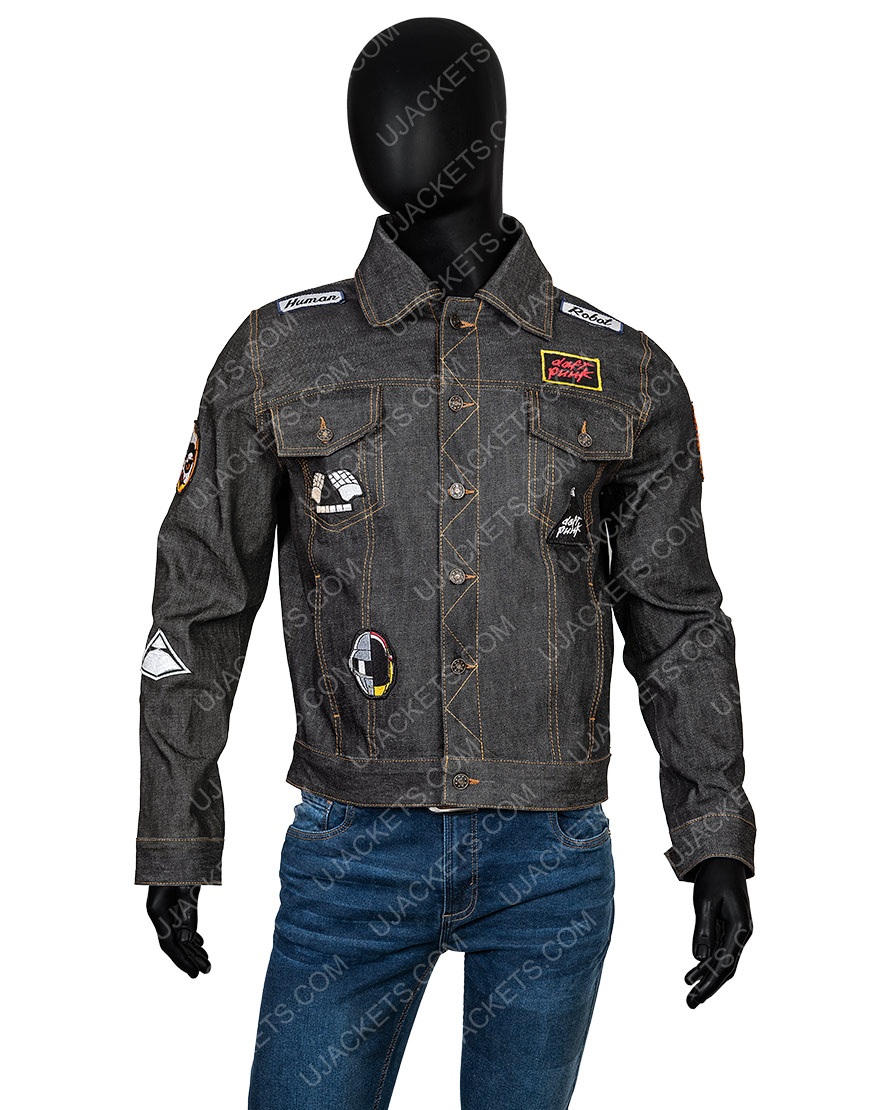 Daft Punk Black Denim Jacket With Patches