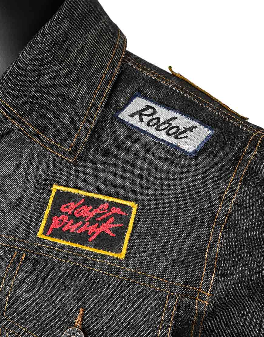 Daft Punk Patched Black Denim Jacket