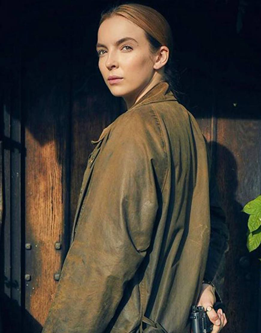Jodie-Comer-Brown-Cotton-Coat-From-Killing-Eve
