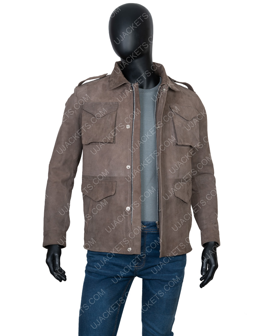 Richard Armitage The Stranger Adam Price Brown Suede Leather Jacket