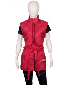 Taylor Russell Lost In Space Season 02 Red Judy Robinson Vest